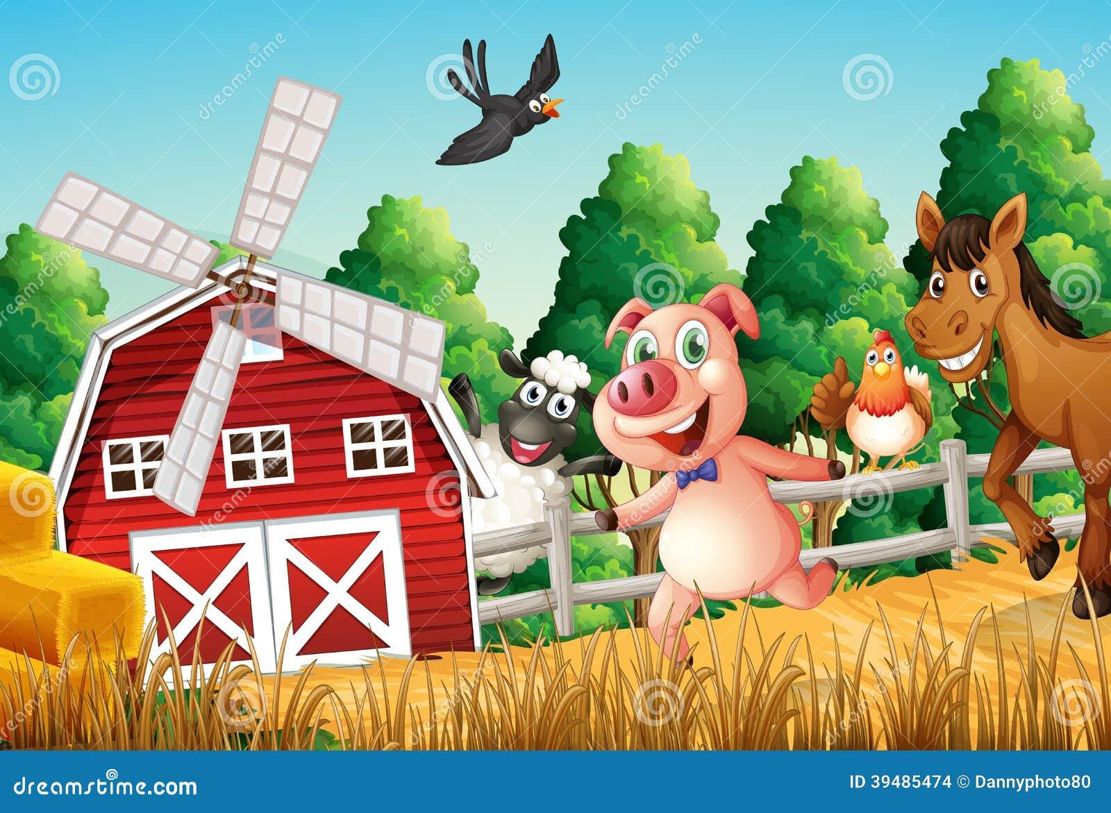 Happy Farm Animals Stock Vector - Image: 39485474