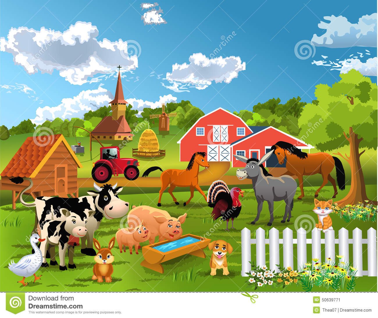 Vector Illustration Of Happy Farm Animals Living Peacefully Together With A Barn In The Background