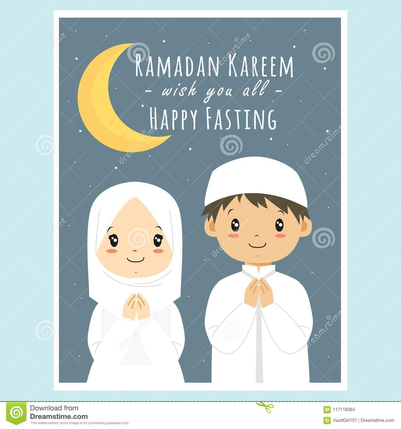 photograph about Ramadan Cards Printable titled Satisfied Fasting, Ramadan Kareem Greeting Card Vector Inventory