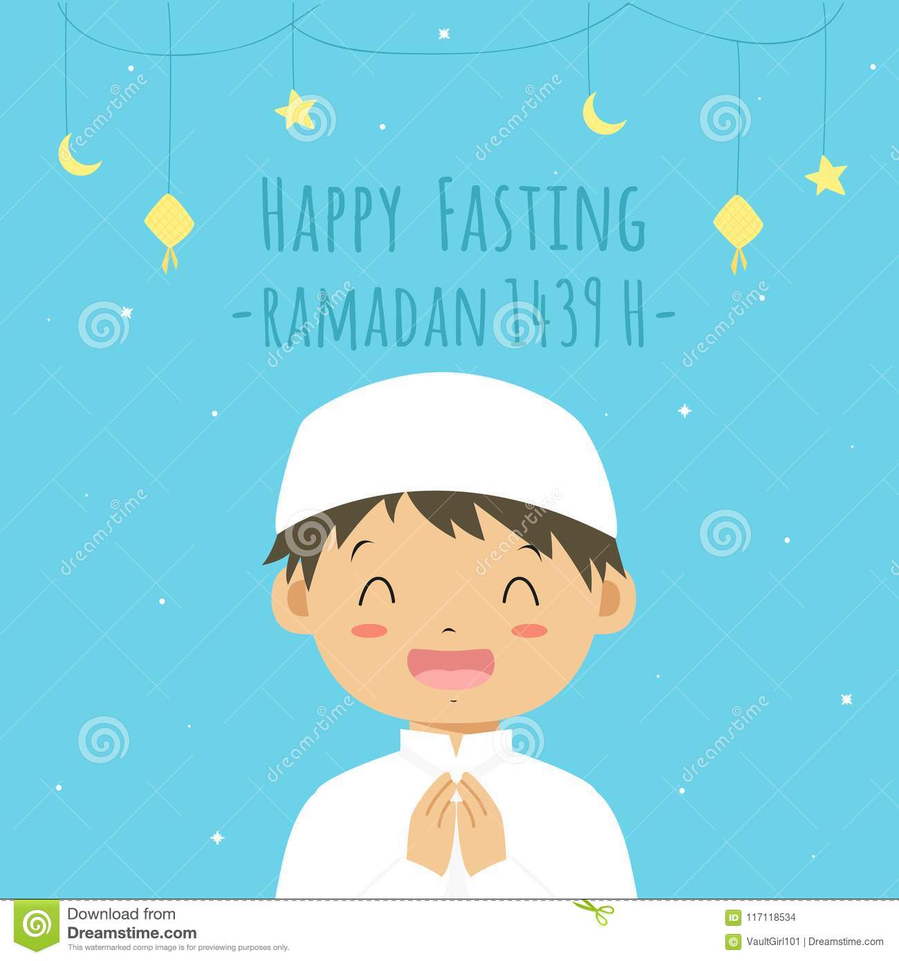 graphic about Eid Cards Printable named Satisfied Fasting Greeting Card, Muslim Boy Cartoon Vector Inventory