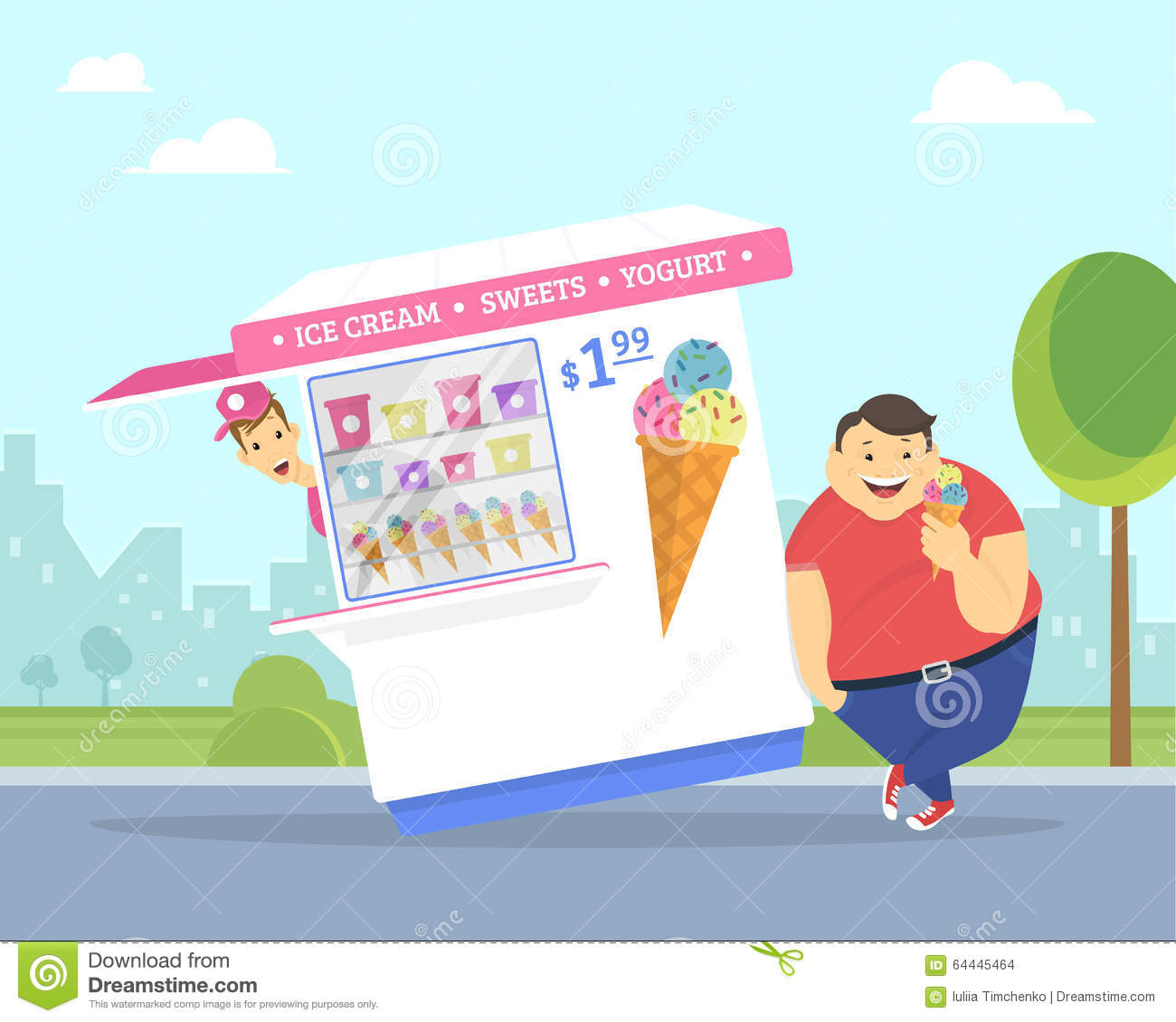 Happy Fat Man Eating Ice Cream In The Park Stock Vector ...