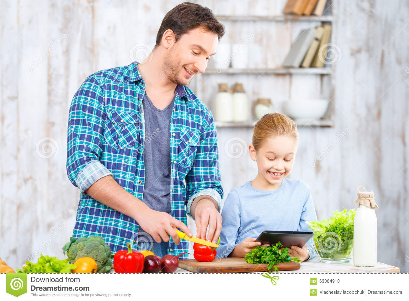 Happy Father And Daughter Cooking Together Stock Photo - Image of ...
