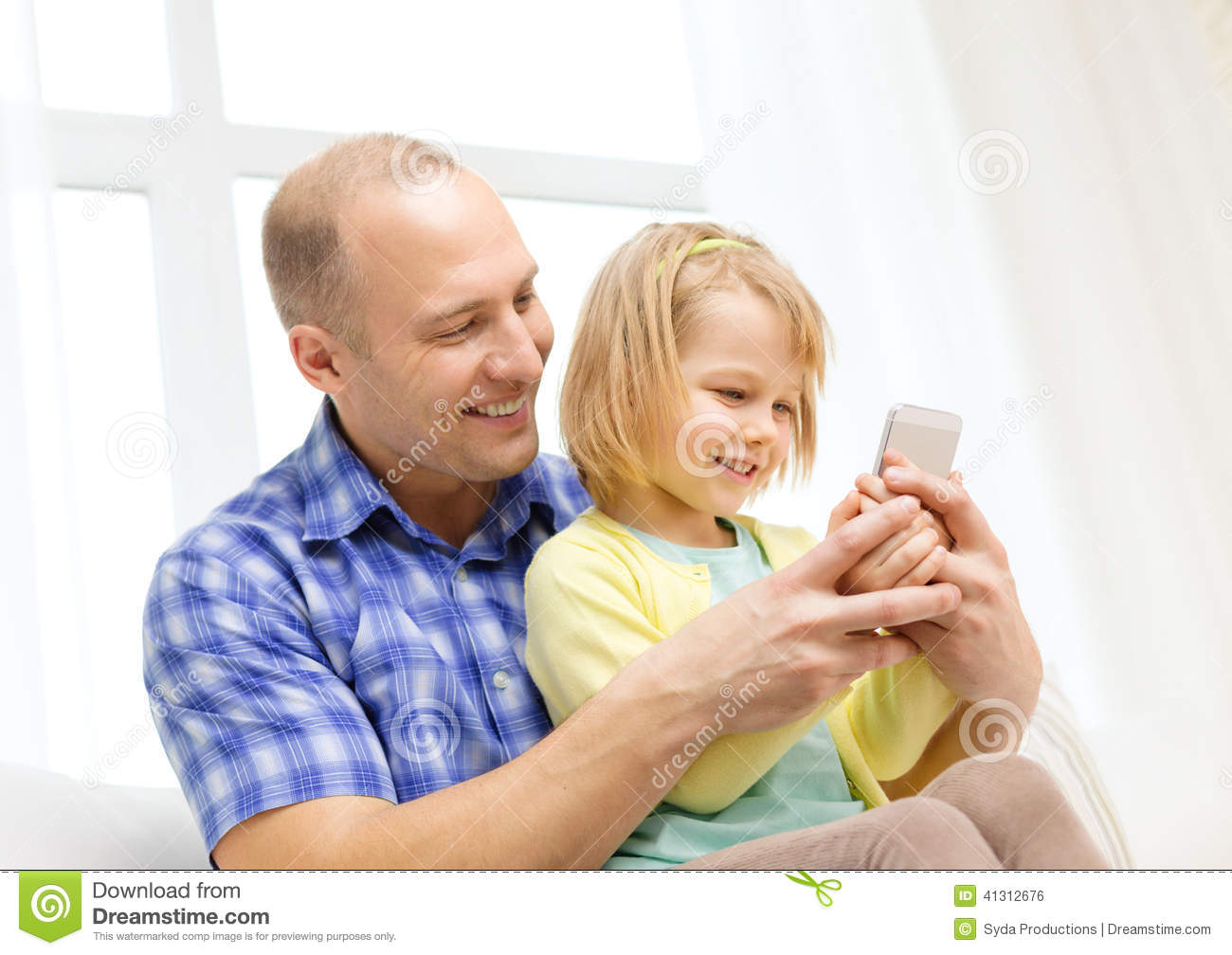 Happy Father And Daughter With Smartphone Stock Photo ...