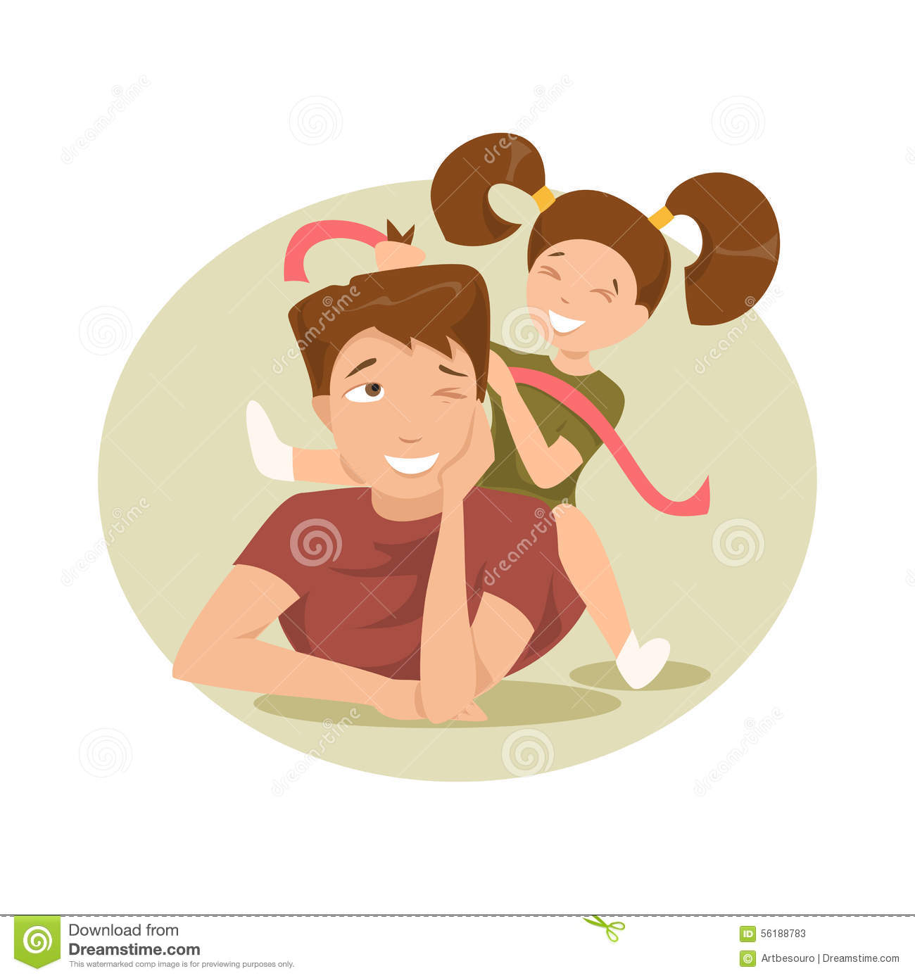 Happy Father And Daughter Vector Illustration Stock