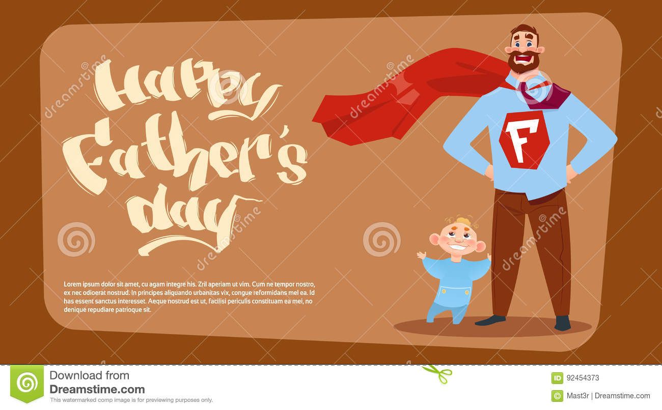 happy father day family holiday man dad with son wearing superhero