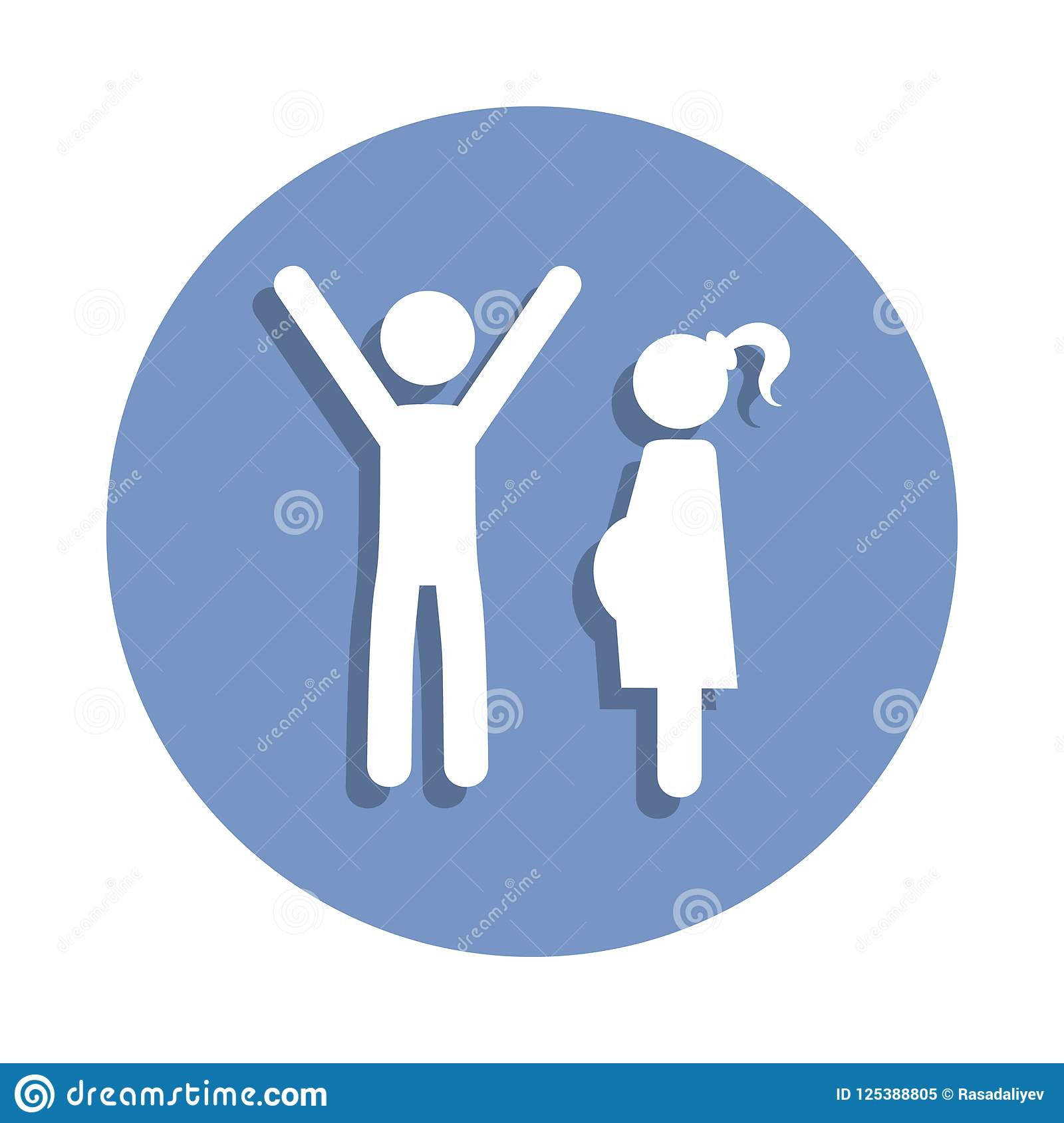 happy father with his pregnant wife icon in badge style. One of Family collection icon can be used for UI, UX