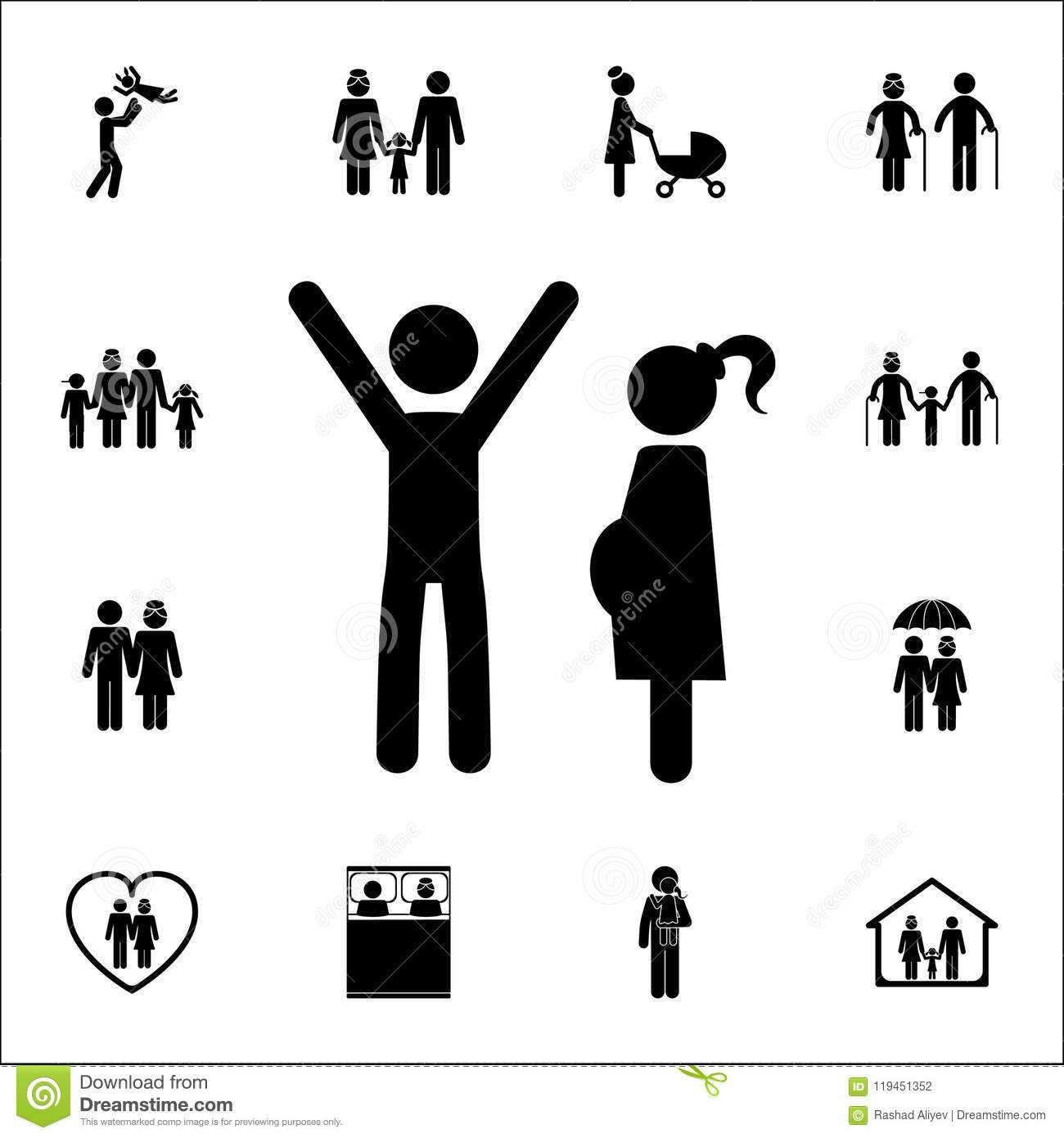 happy father with his pregnant wife icon. Detailed set of Family icons. Premium quality graphic design sign. One of the collection