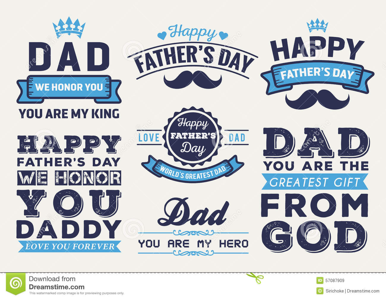 Happy Father's Day Badge Logo Vector Element Set Stock