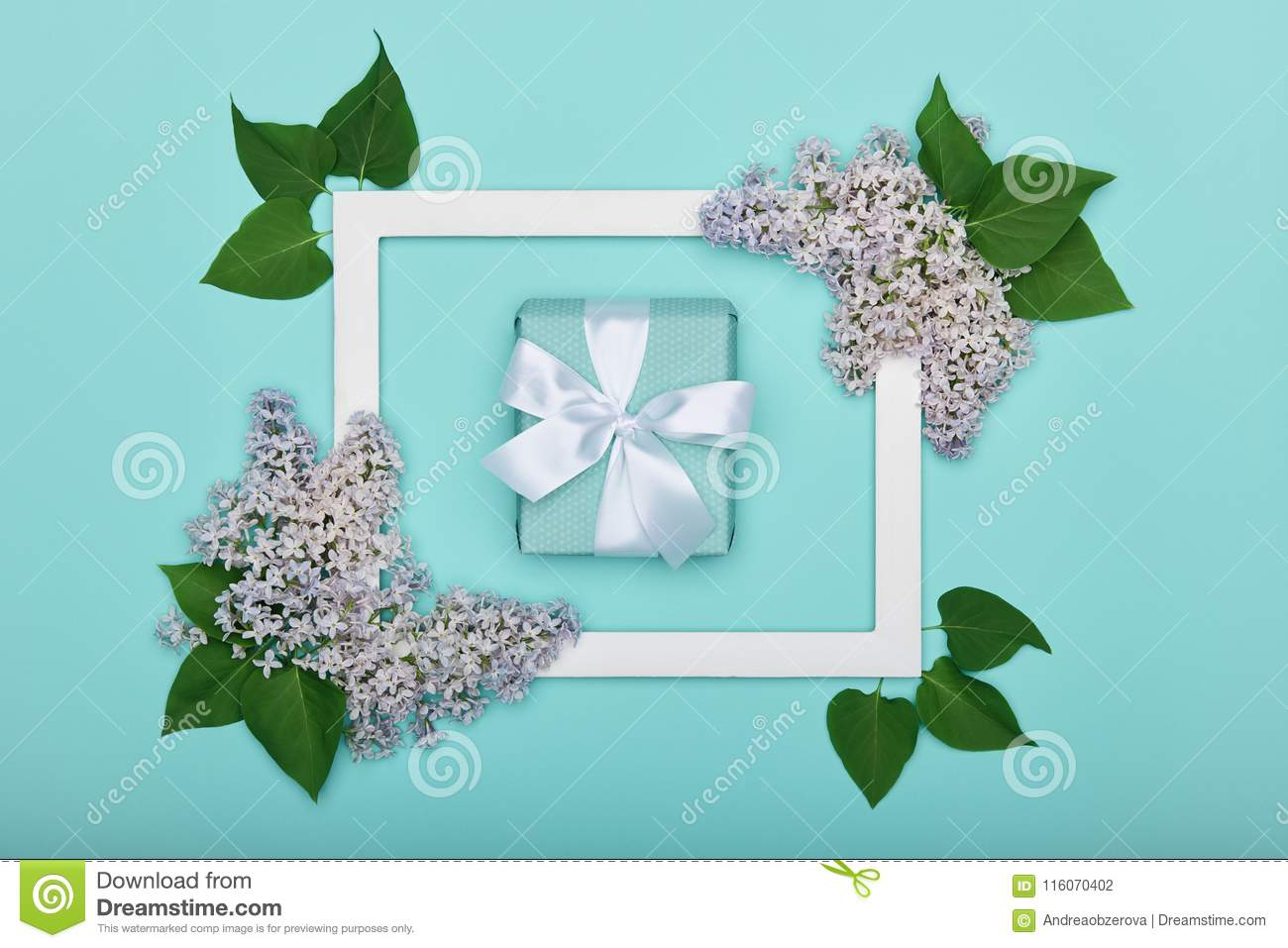 Happy Father`s day or Birthday Pastel Candy Blue Colour Background. Floral flat lay greeting card with picture frame mock up.