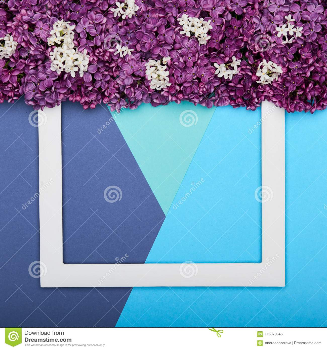 Happy Father`s day or Birthday Turquoise and Blue Colours Background. Floral flat lay minimalism greeting card.