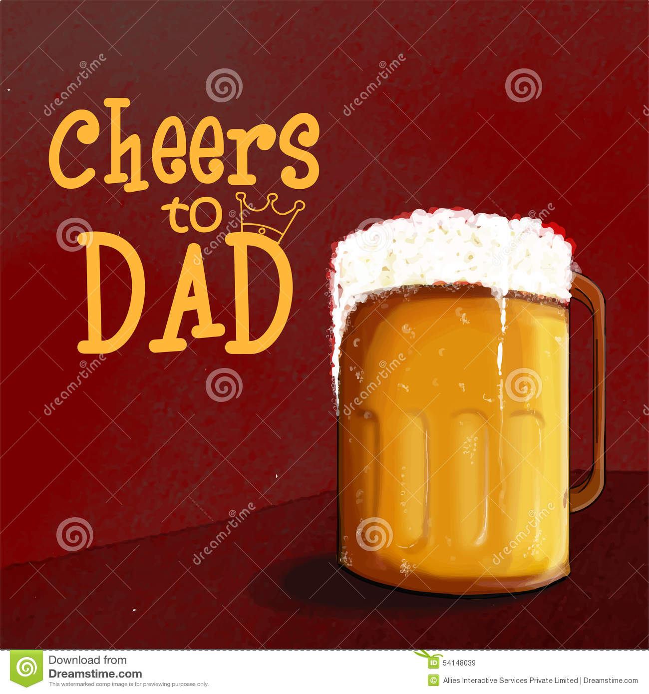 Happy Fathers Day Celebration With Beer Stock Illustration