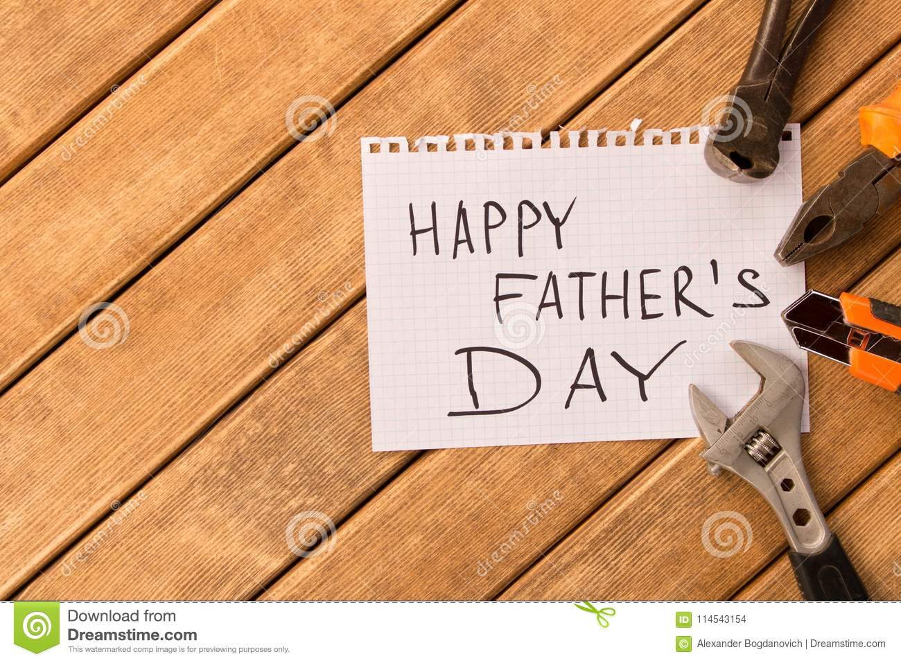 Happy father`s day . Different tools on wooden background
