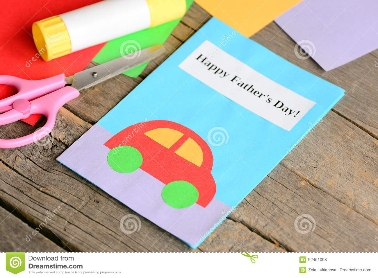 Happy Fathers Day Greeting Card Colored Paper Sheets Scissors