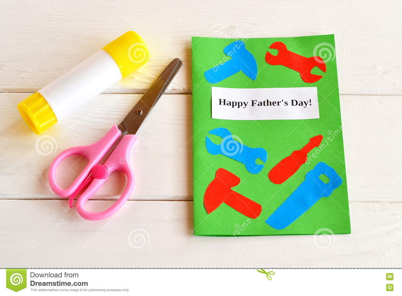 Happy fathers day greeting card with paper tools scissors glue happy father s day greeting card with paper tools scissors glue kids m4hsunfo