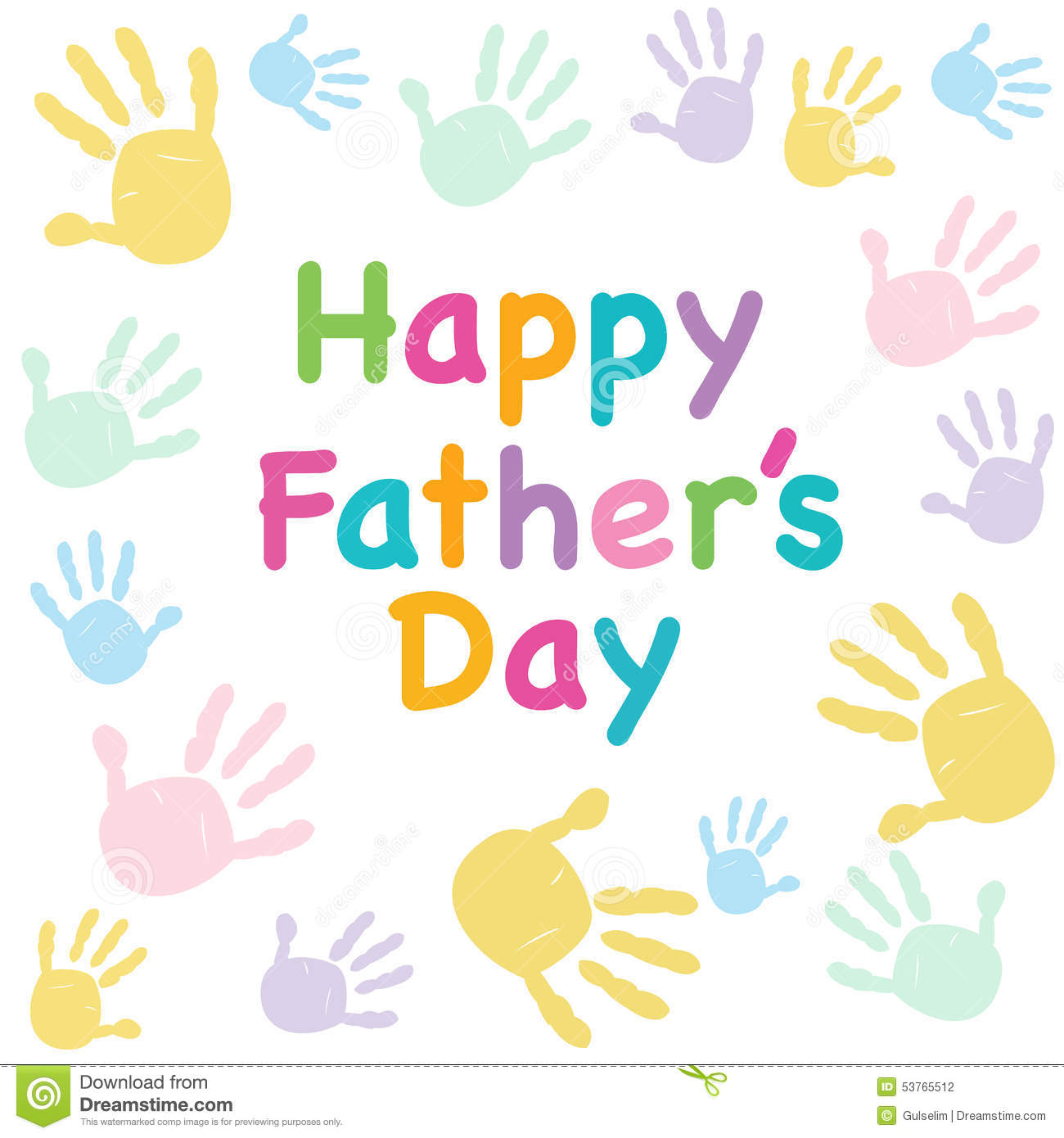 Happy Fathers Day Kids Colorful Handprint Greeting Card Stock