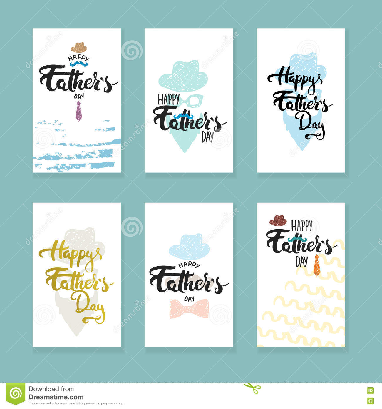 Happy Fathers Day Lettering Calligraphy Greeting Cards Set With Hat