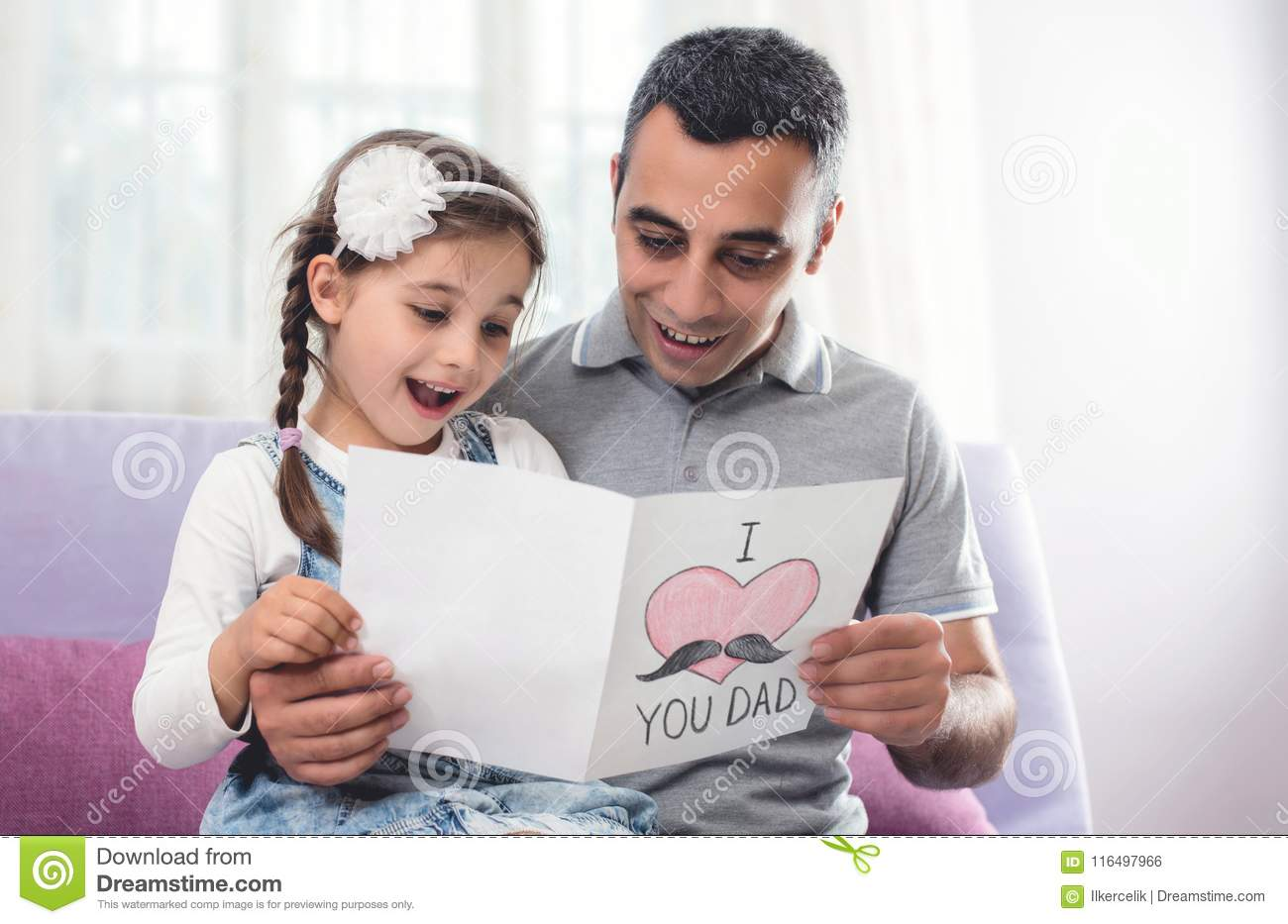 Happy Father`s Day Portrait. Child Daughter and Her Daddy