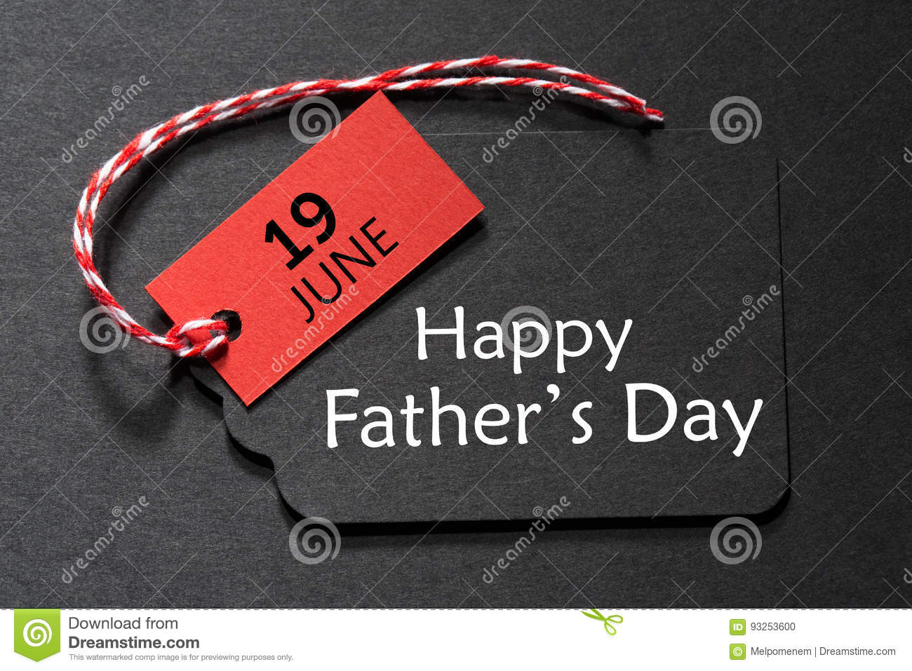Happy Father`s Day text on a black tag