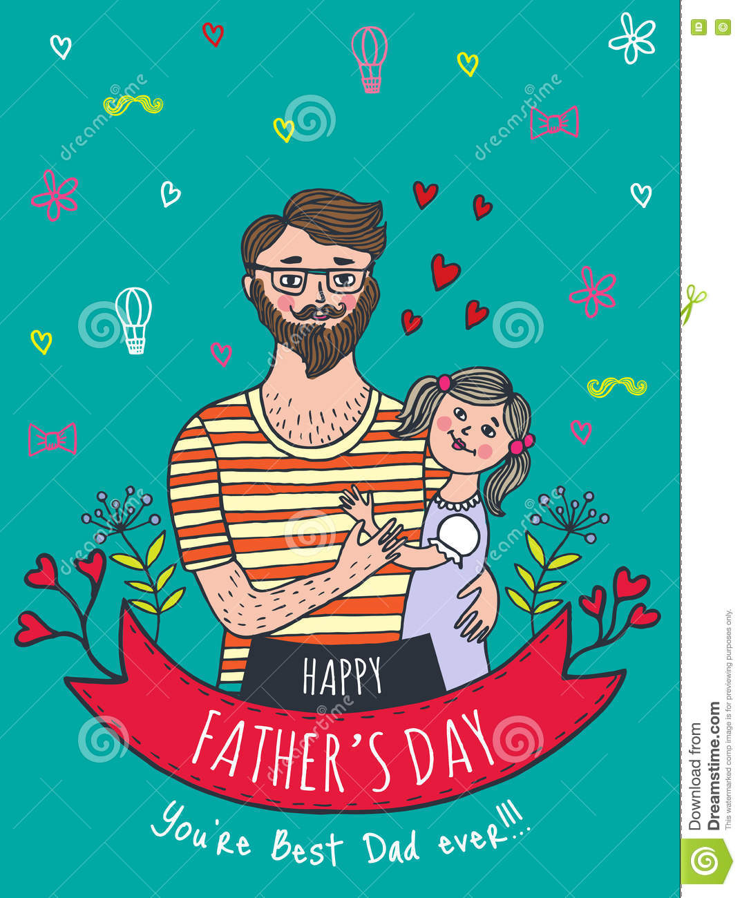 Happy Father's Day Card With Dad And Daughter Stock ...