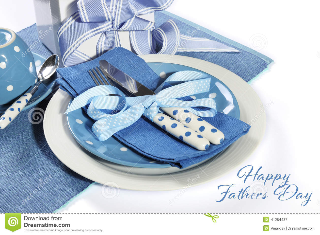 Happy Fathers Day Blue Theme Table Setting With Gift Stock