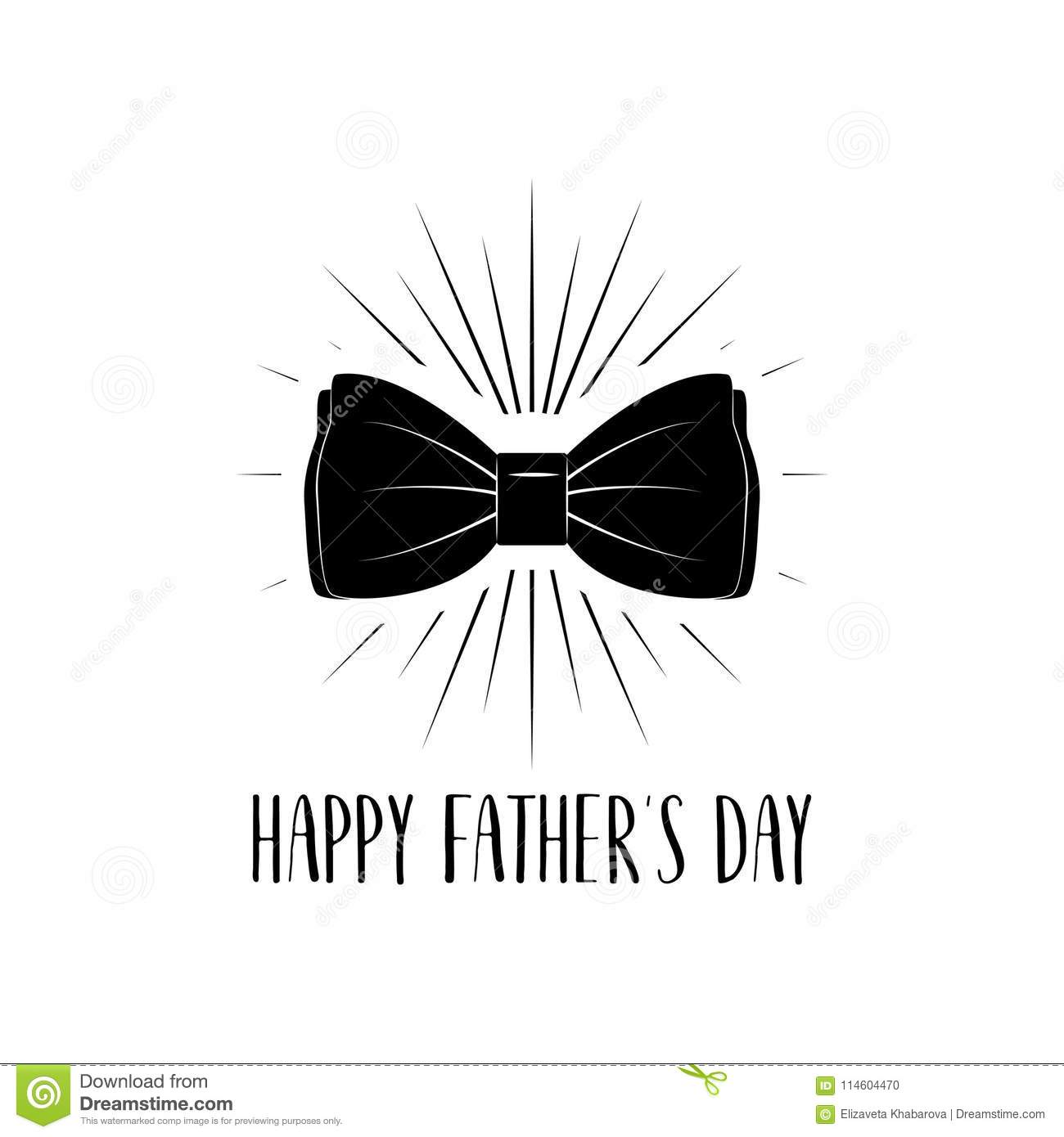 ed3b404c7 Happy Fathers Day Card. Bow Tie Accessory. Dad Greeting. Vector ...