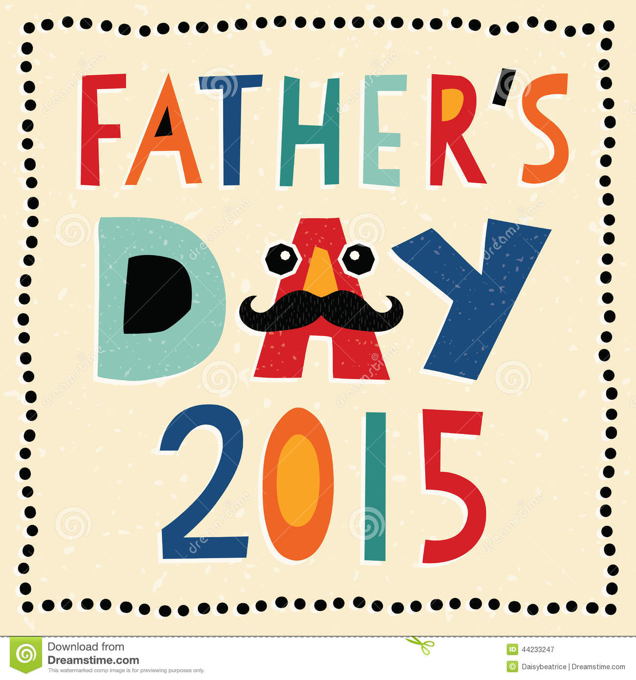 Happy Fathers Day Card 2015 With Hand Made Text Stock ...