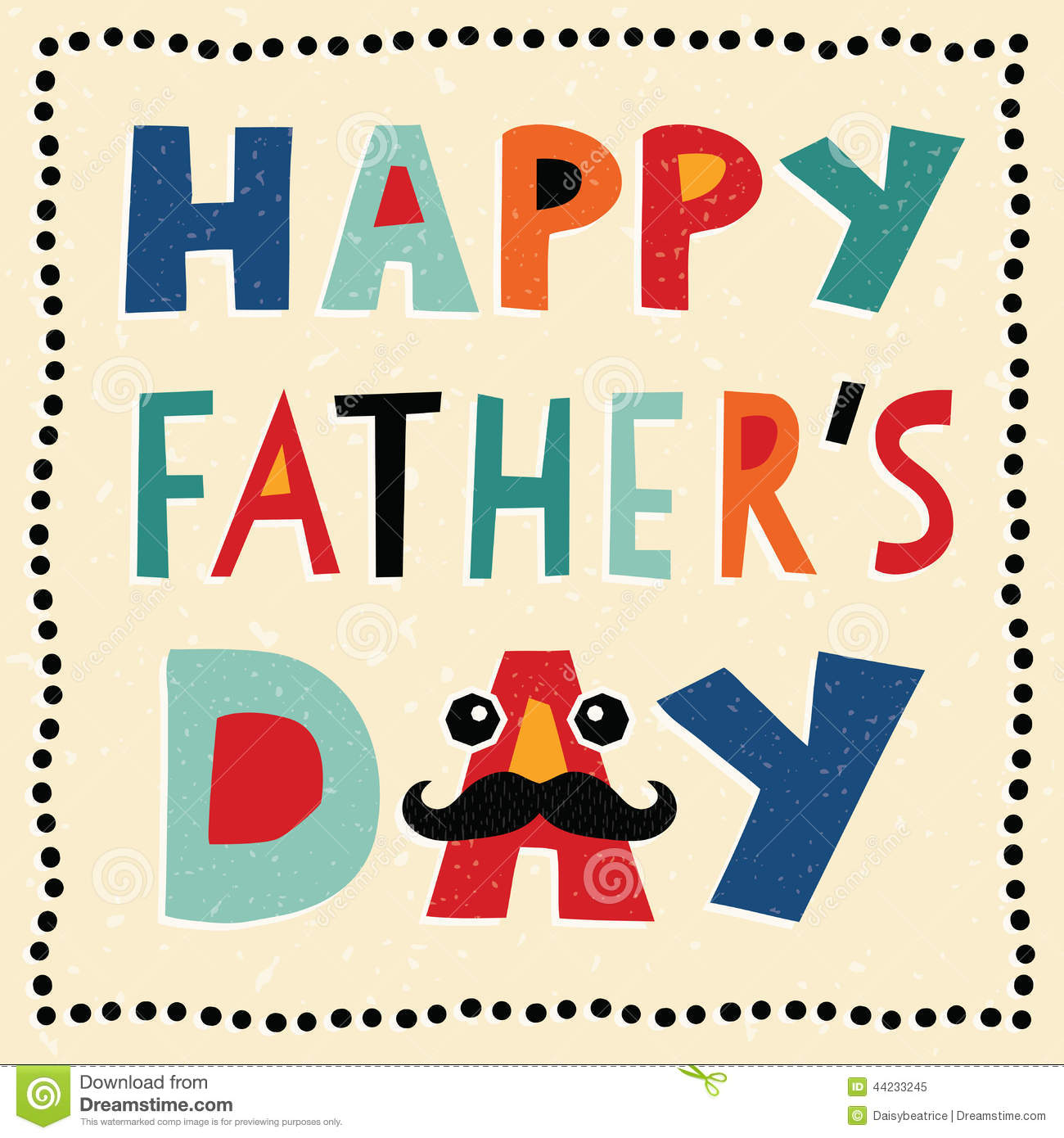 Greeting card template or social media banner for Father's Day with ...