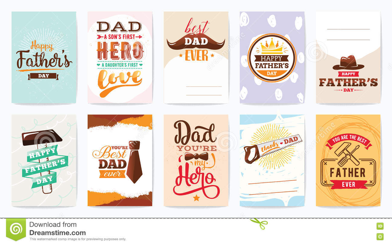 happy fathers day cards set vector typography stock vector illustration of graphics banner
