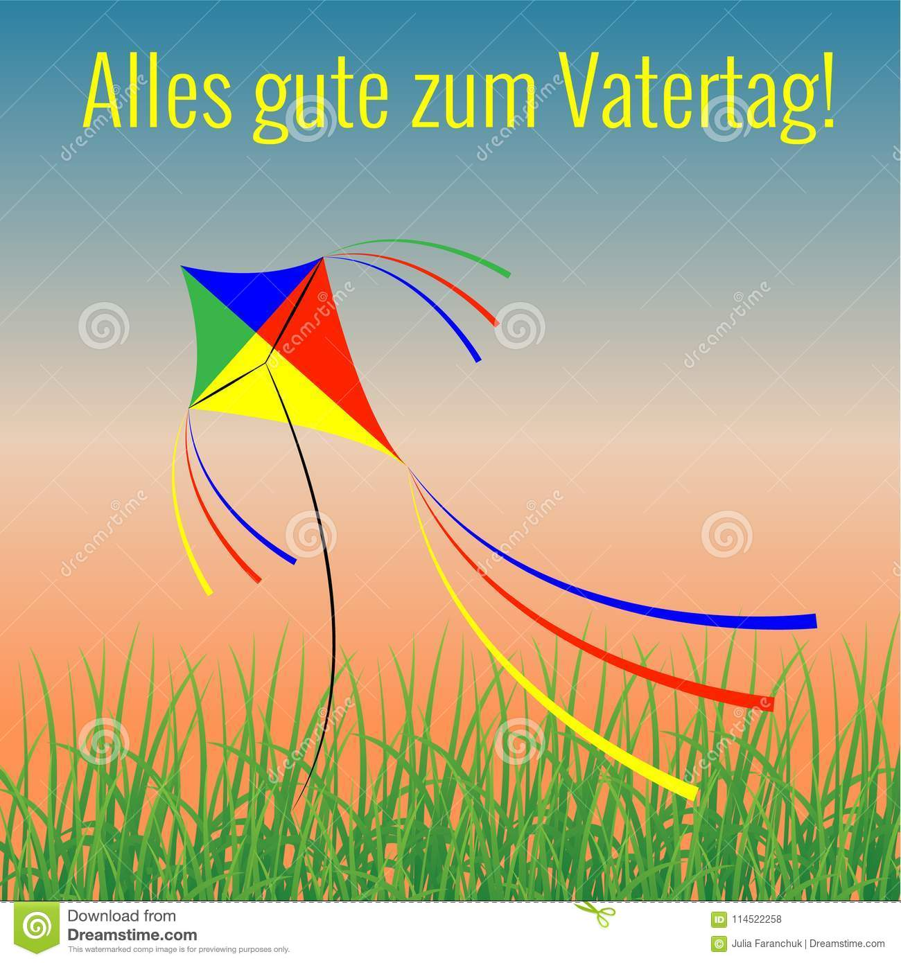Fathers Day In Germany Evening Sky Grass Kite Flying Stock