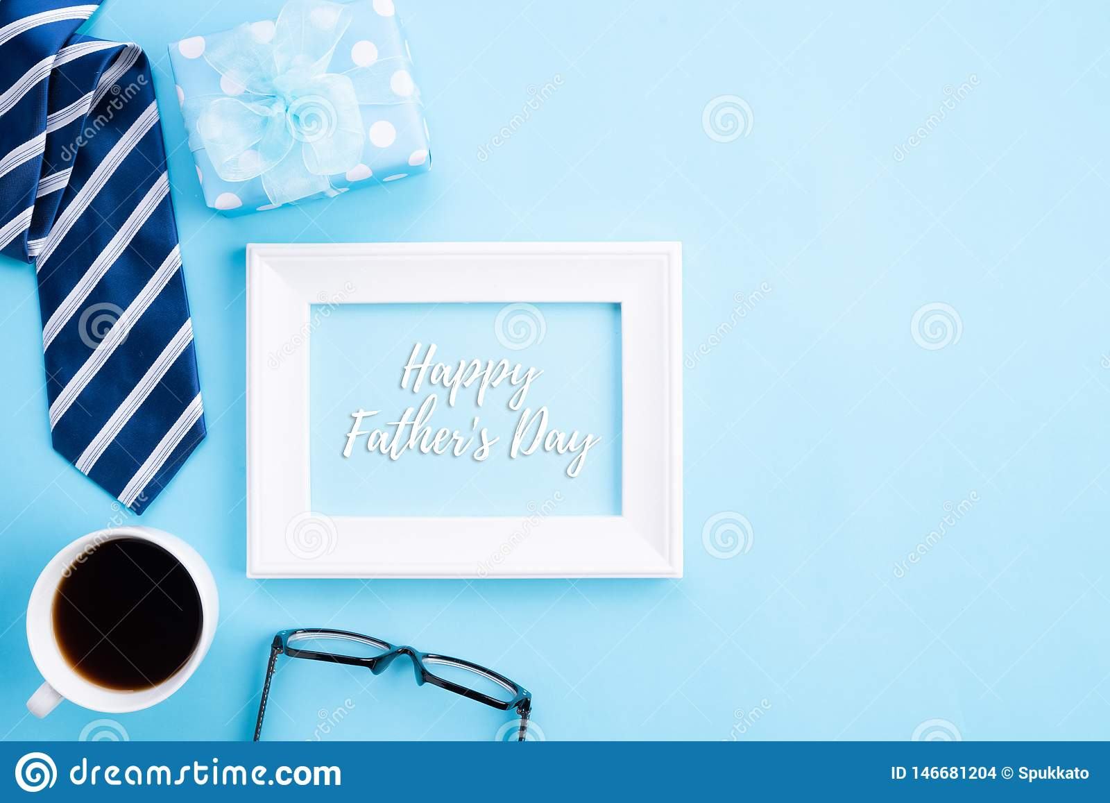 Happy Fathers Day Concept Top View Of Blue Tie Beautiful Gift Box Coffee Mug White Picture Frame With Happy Father S Day Text Stock Photo Image Of Decoration Black 146681204