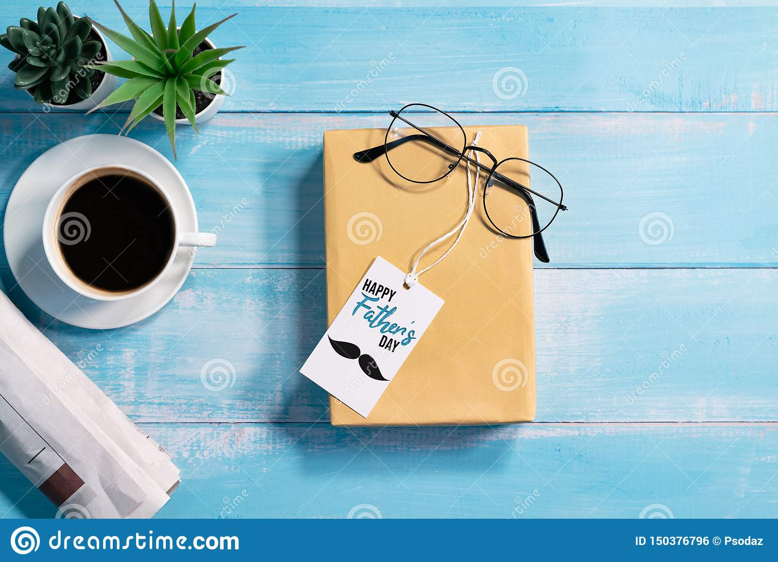 Happy Fathers Day Gift Box With A Cup Of Coffee And Eyeglasses Stock Photo Image Of Handmade Detail 150376796