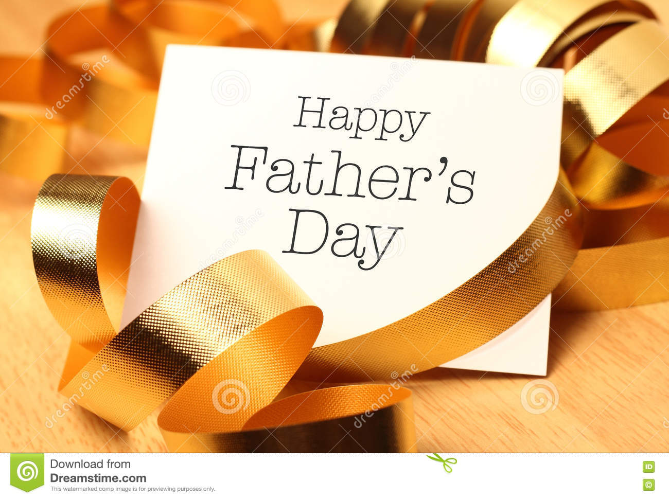 Happy fathers day with gold decoration.
