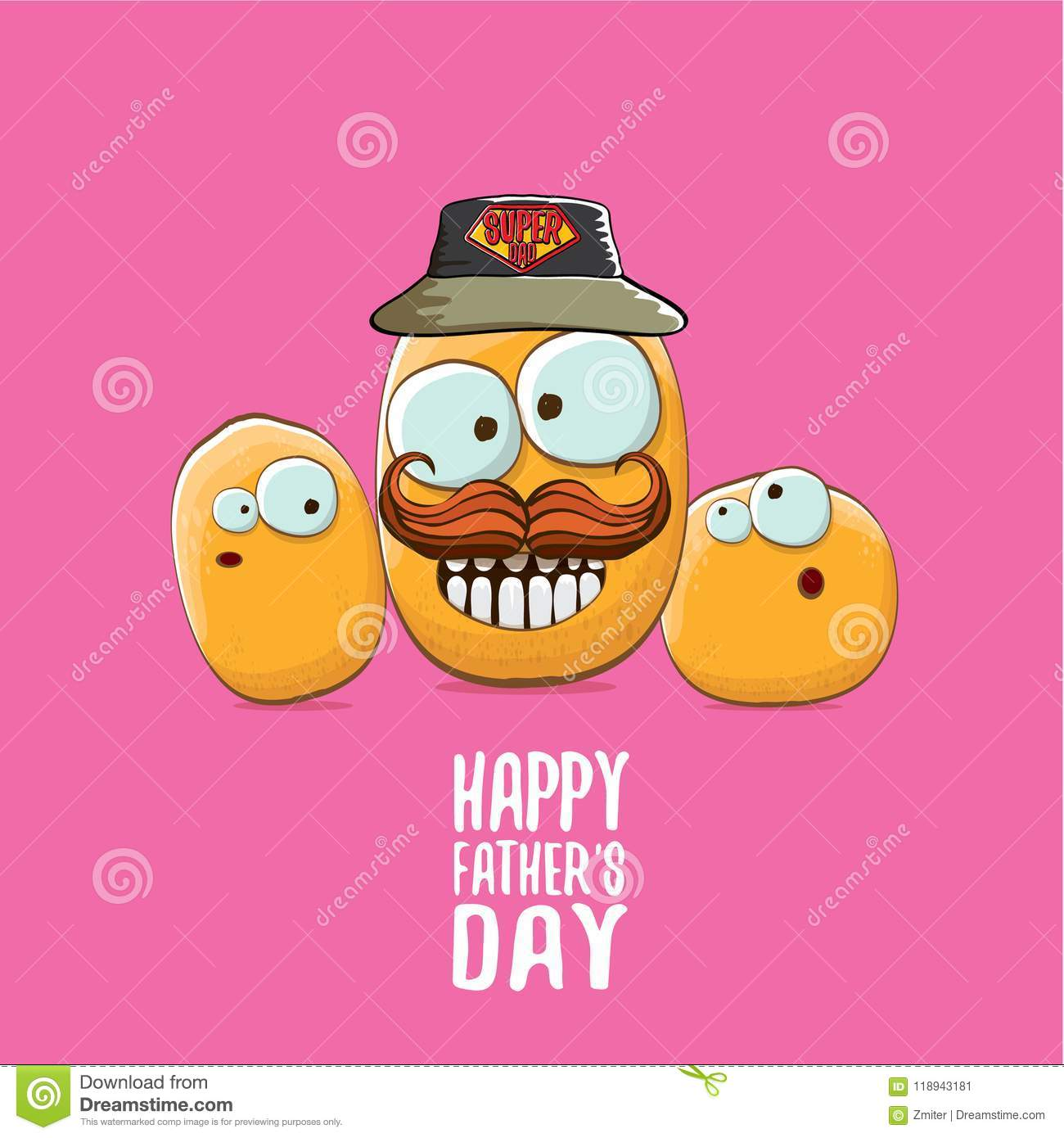 Happy Fathers Day Greeting Card With Cartoon Father Potato And Kids