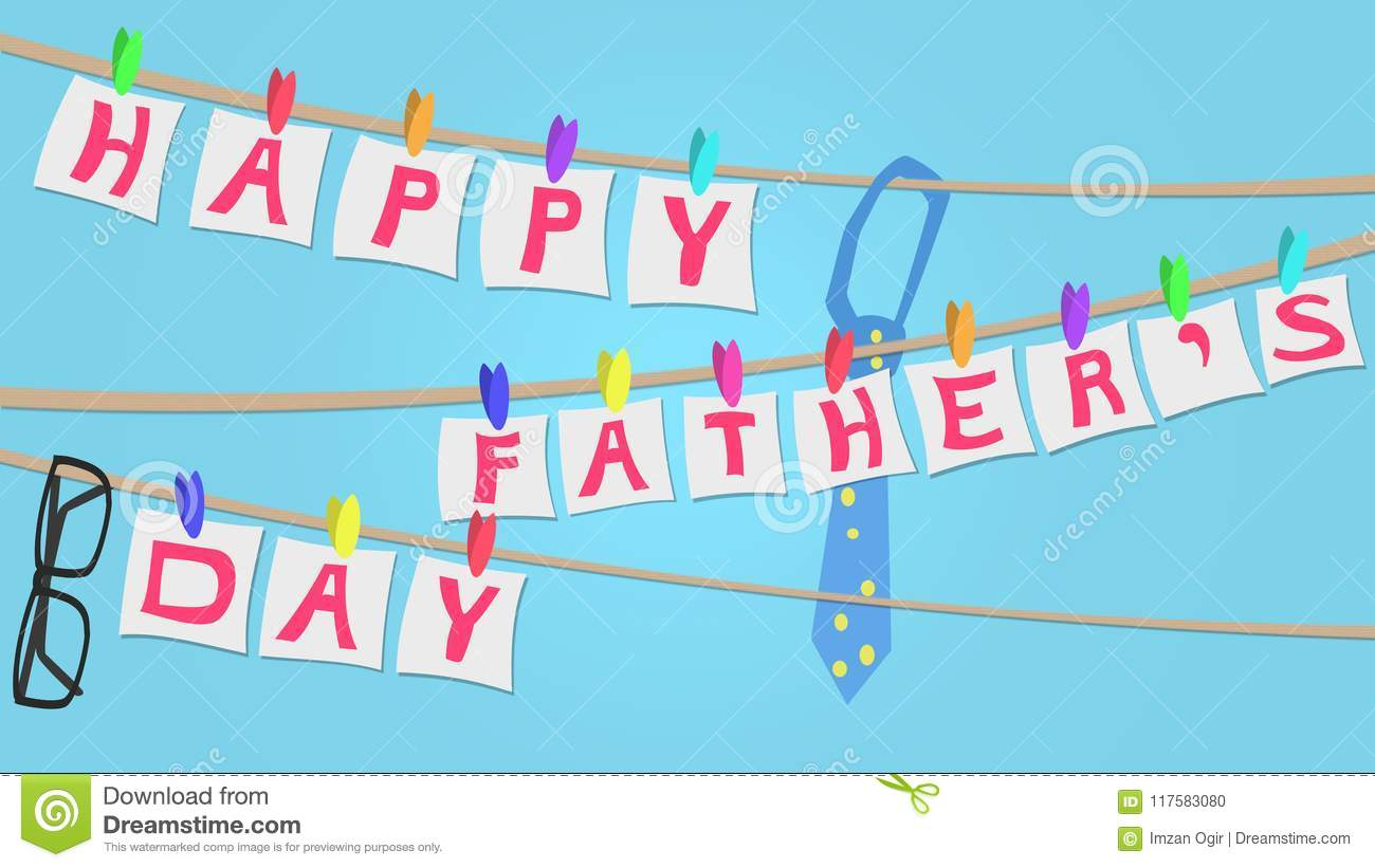 Happy Fathers Day Greeting card illustration, clothes line style