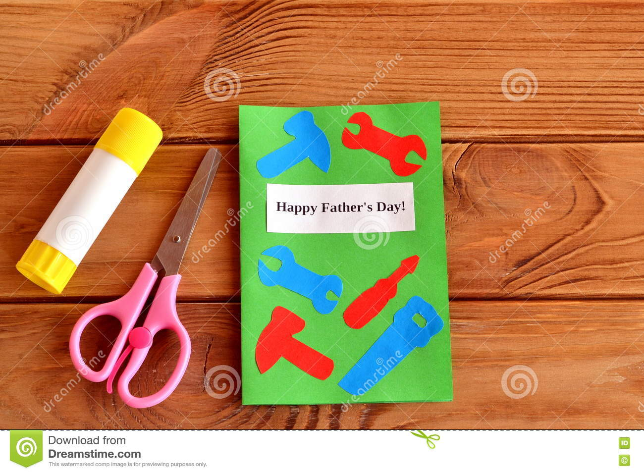 Happy fathers day greeting card with paper tools scissors glue greeting card with paper tools scissors glue kids paper m4hsunfo