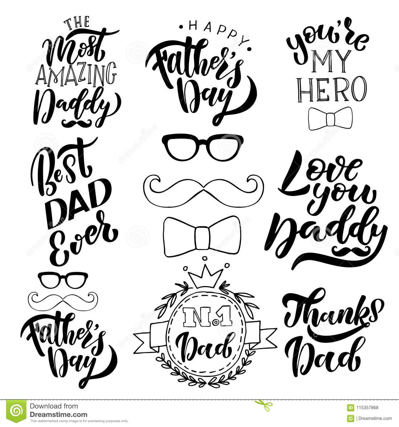 Fathers Day Vector Illustration Collection For Greeting Card Happy Brush Calligraphy Hand Lettering