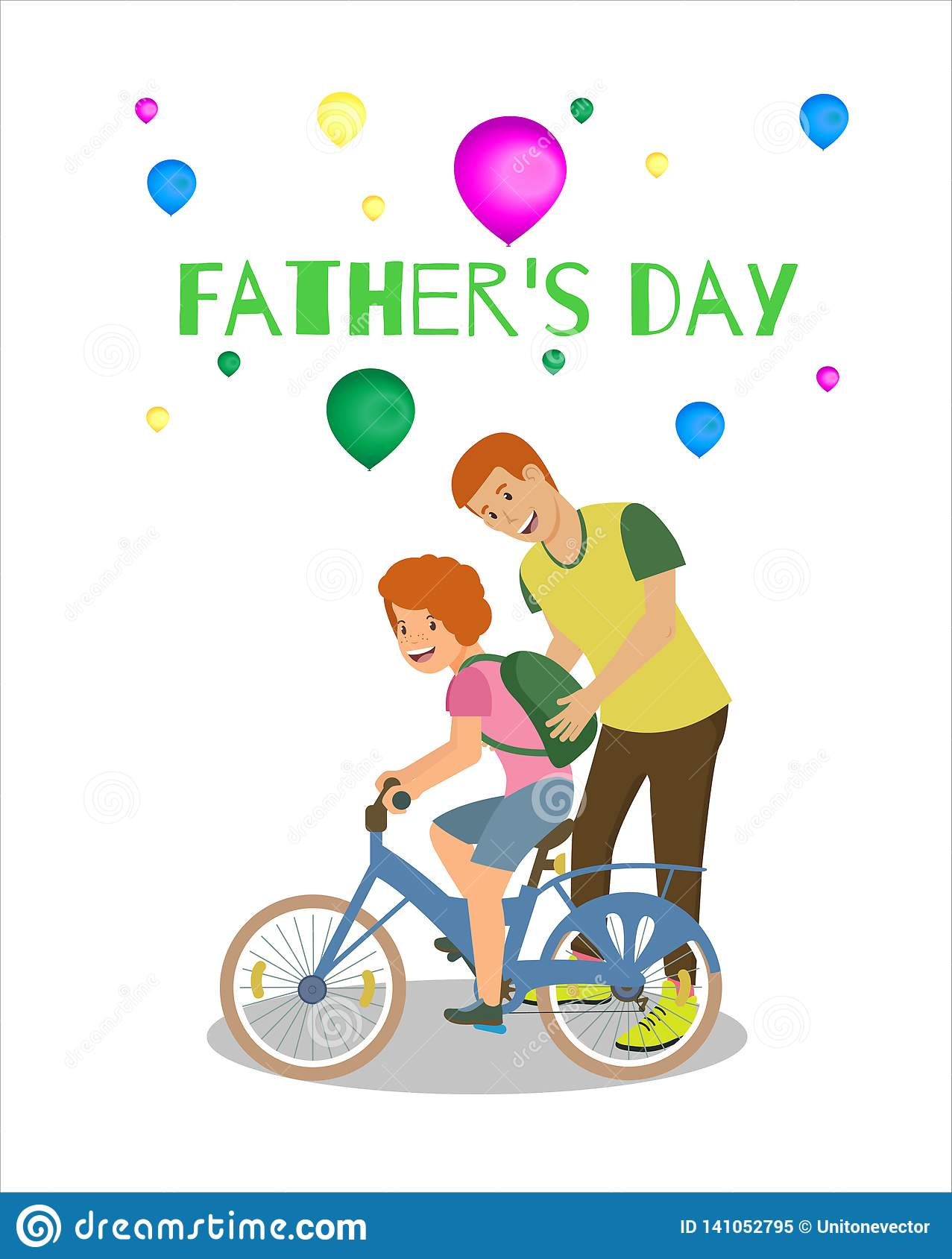 Happy Fathers Day Greeting Card White Background.