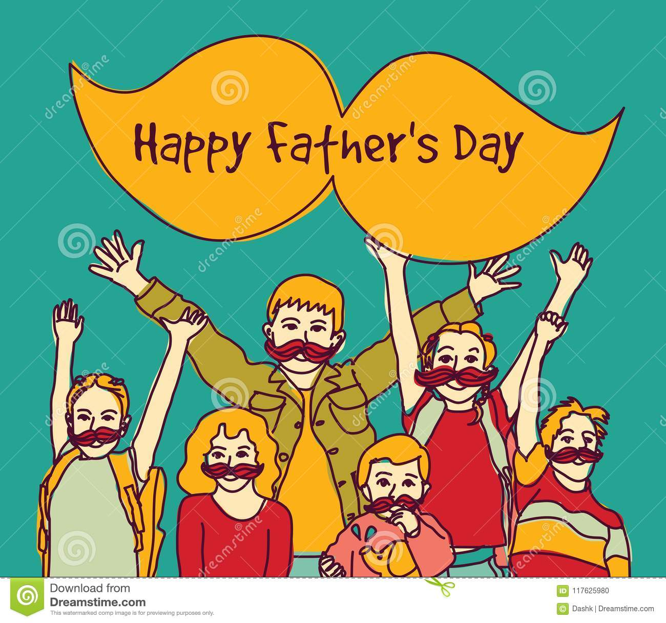Happy Fathers Day Group Children Moustache Sign Stock Vector ...