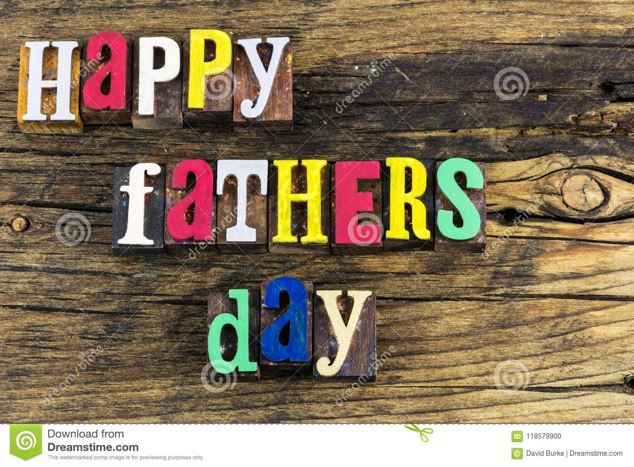 Happy Fathers Day Love Letterpress Stock Photo Image Of Message