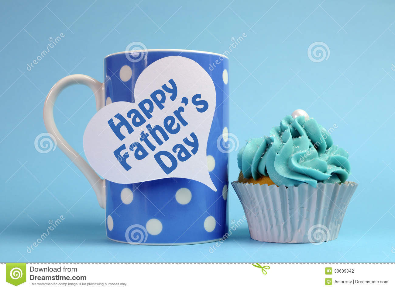 happy fathers day message on blue theme polka dot coffee mug with cupcake