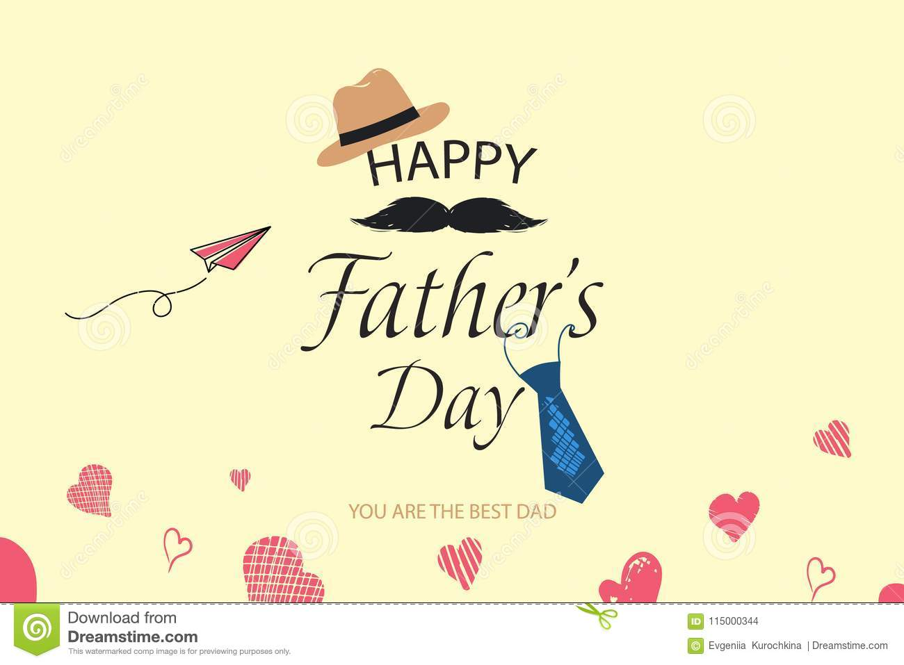 happy fathers day template greeting card you are the best dad