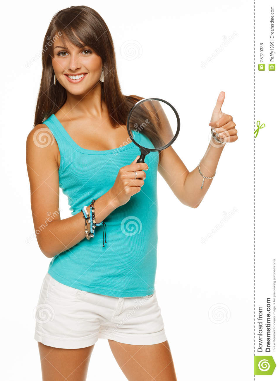 Happy female with magnifying glass
