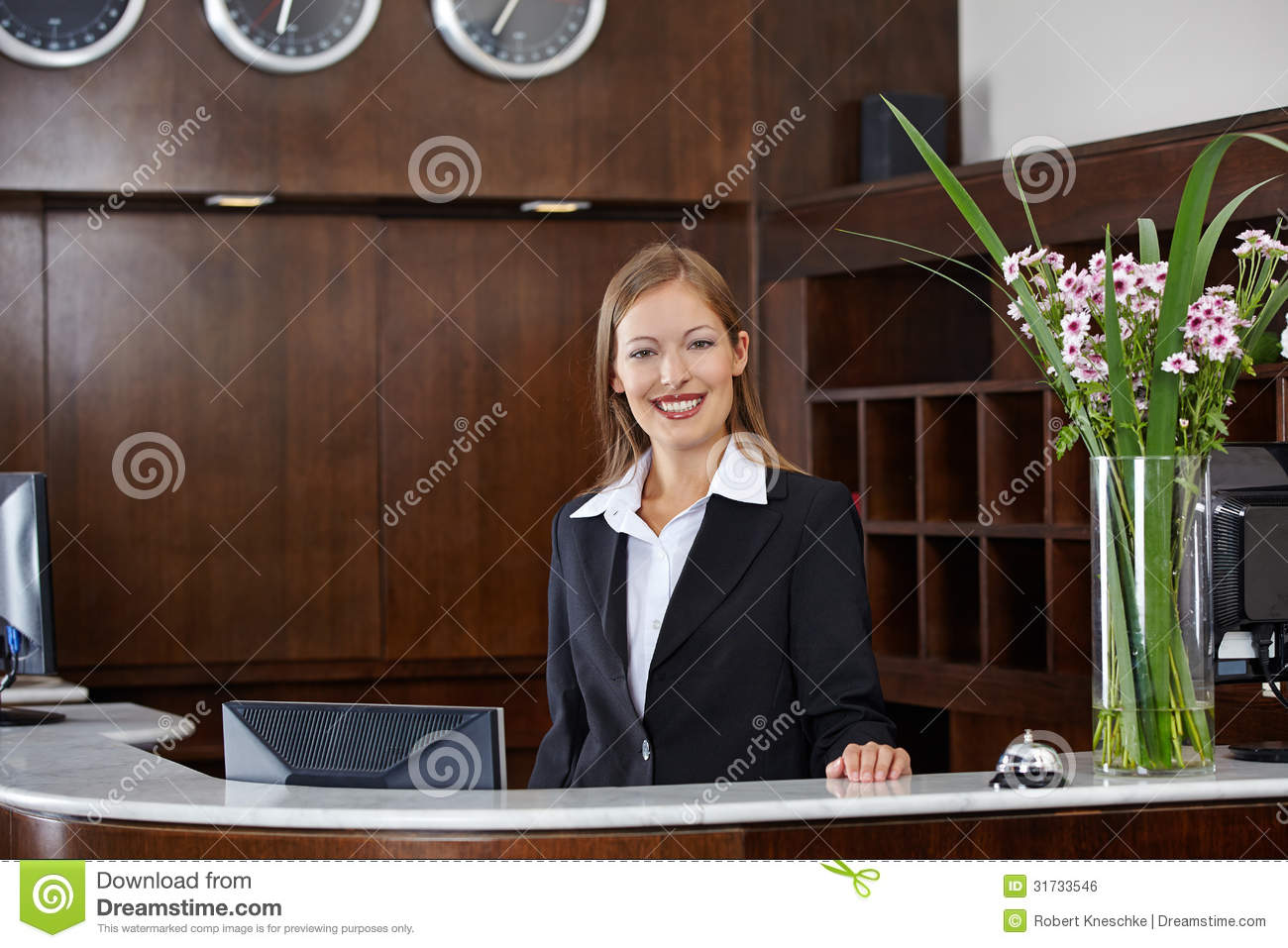 Happy Female Receptionist At Hotel Royalty Free Stock ...
