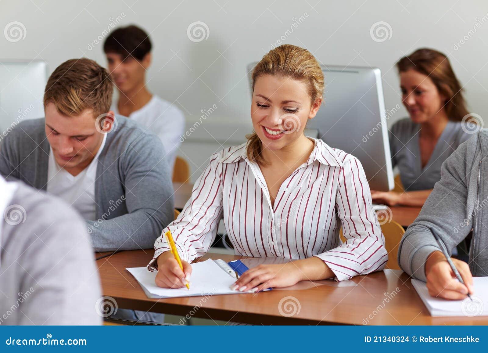 Happy Female Student Taking Notes Stock Images - Image ...