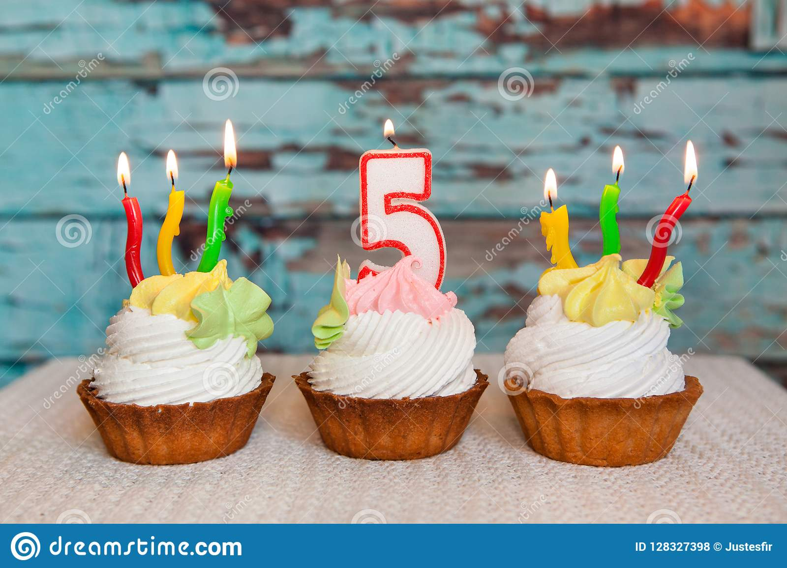 Peachy Happy Fifth Birthday Cake And Number Five Candle On Blue Funny Birthday Cards Online Alyptdamsfinfo
