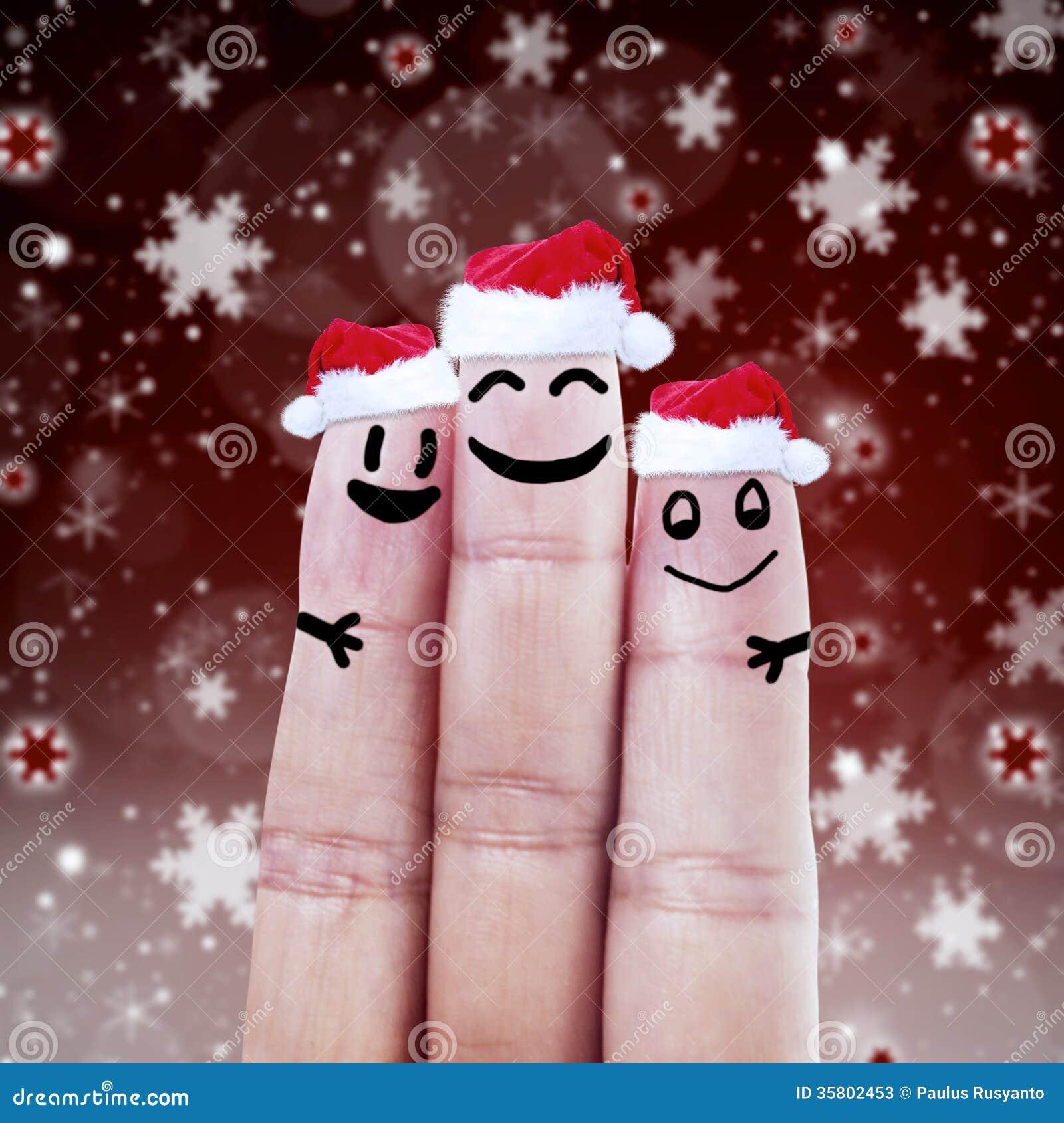 Happy Finger Smileys In Santa Hats Stock Image - Image of friends ...