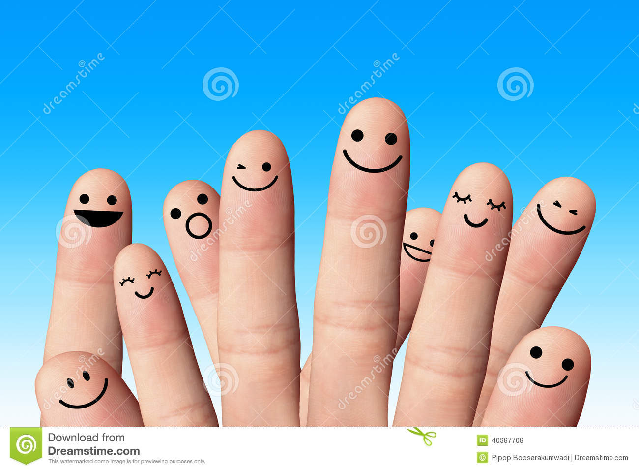 Happy Fingers On Blue Background. Friendship Concept. Stock Photo ...