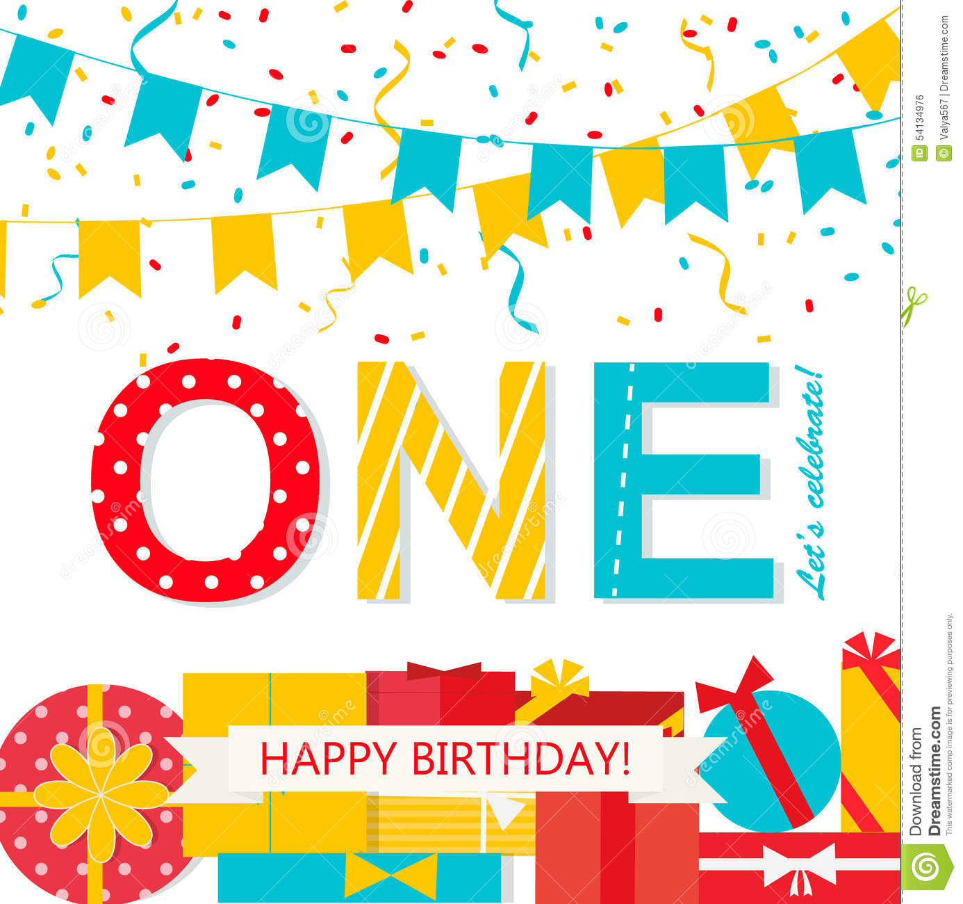 Happy First Birthday Anniversary Card Stock Vector