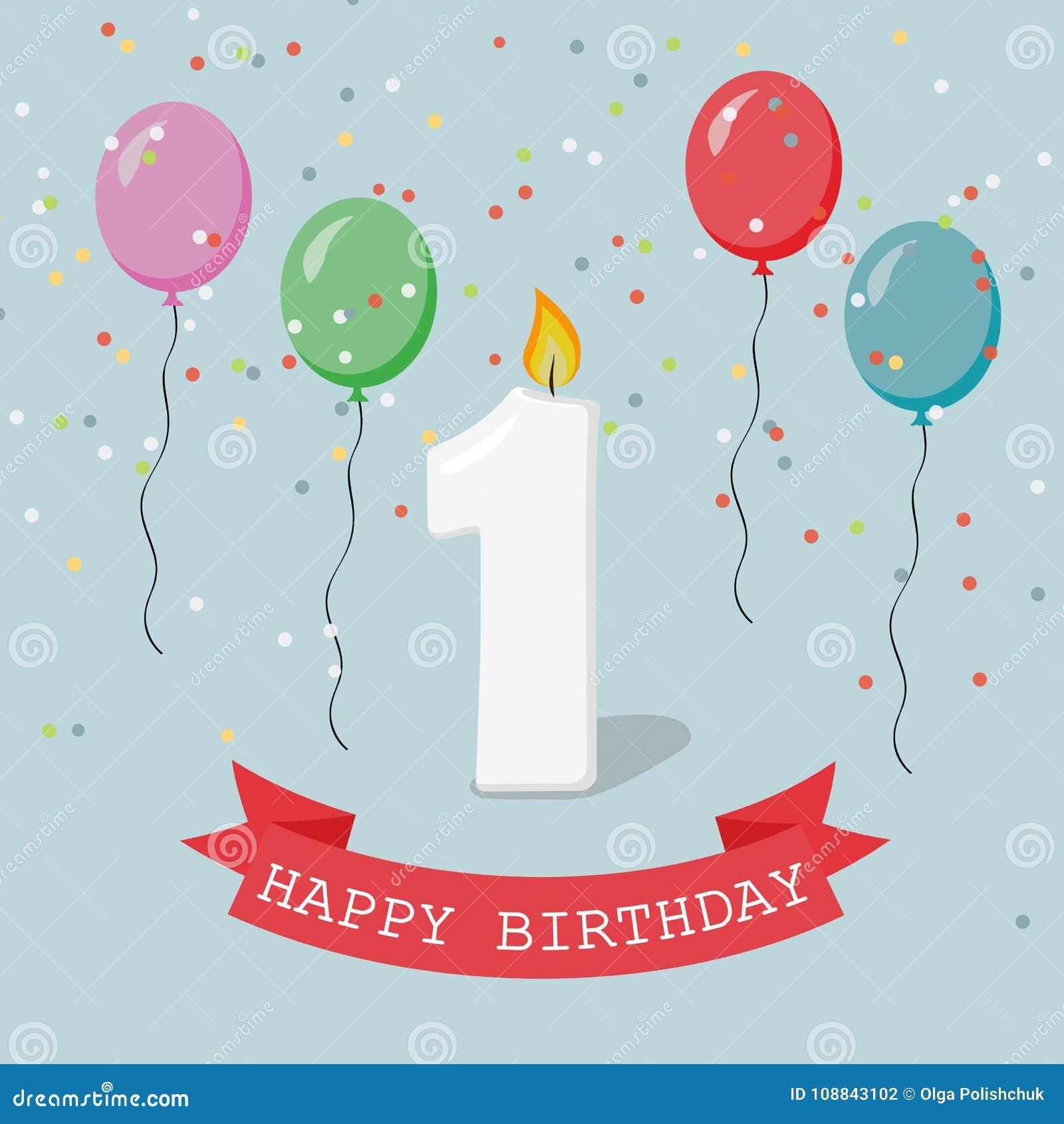 Happy first birthday anniversary greeting card with number one stock happy first birthday anniversary greeting card with number one m4hsunfo
