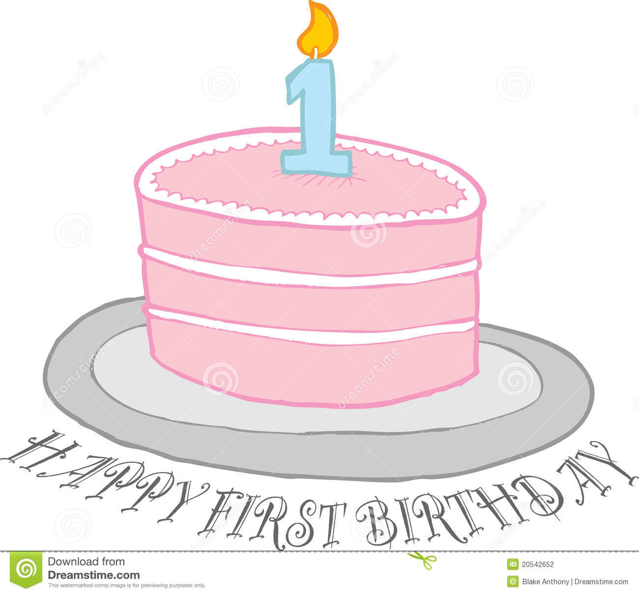 Smashed Cake Clipart : Happy First Birthday Cake Stock Photography - Image: 20542652